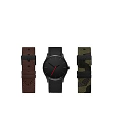 Men's Interchangeable Strap Watch 42mm Gift Set