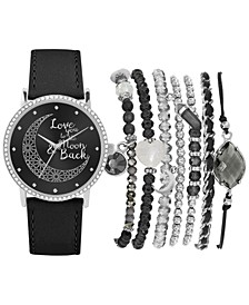 Women's Black Polyurethane Strap Watch 36mm Gift Set