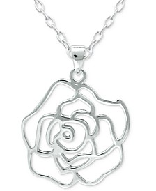 "Flower 18"" Pendant Necklace in Sterling Silver, Created for Macy's"