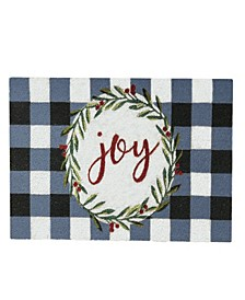 Holiday Joy Wreath with Plaid Coir Doormat