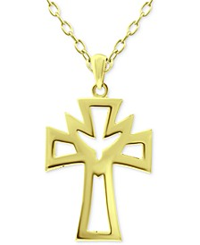 "Open Cross 18"" Pendant Necklace in 18k Gold-Plated Sterling Silver, Created for Macy's"