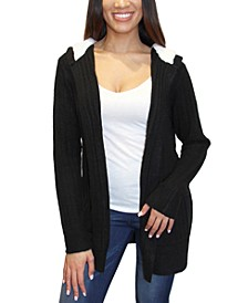 Juniors' Cozy Knit Sherpa Trim Cardigan