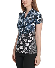 Mixed-Print V-Neck Top