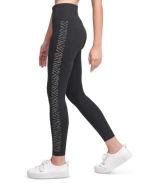 Calvin Klein Performance Rhinestone-embellished High-waist Leggings In Zebra Gunmetal