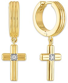 Diamond Accent Cross Drop Hoop Earrings in 14k Gold-Plated Sterling Silver, Created for Macy's