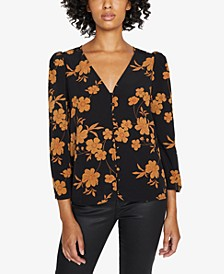 Make A Statement Printed Ruched-Sleeve Blouse