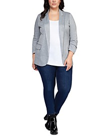 Plus Size Striped Ruched-Sleeve Open-Front Blazer