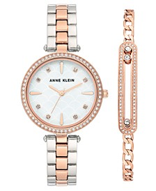 Women's Two-Tone Bracelet Watch 32mm Gift Set