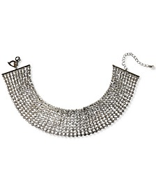 "Silver-Tone Rhinestone Multi-Row Choker Necklace, 13"" + 3"" extender, Created for Macy's"