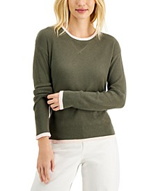 Petite Waffle-Knit Thermal Sweater, Created for Macy's