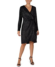 Velvet Foil Faux-Wrap Sheath Dress