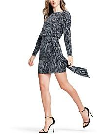 Puff-Sleeve Metallic Knit Sheath Dress
