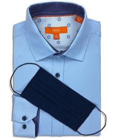 Men's Slim-Fit 4-Way Performance Stretch Houndstooth Dress Shirt with Pleated Face Mask