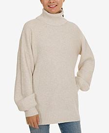 Juniors' Turtleneck Tunic Sweater