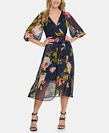Balloon Sleeve V-Neck Floral Wrap Dress