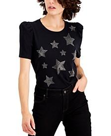INC Star-Print Puff-Sleeve T-Shirt, Created for Macy's