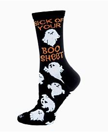 Women's Sick of Your Boo Sheet Holiday Halloween Crew Socks