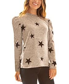 Juniors' Fuzzy Star-Print Puff-Shoulder Sweater