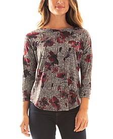 Juniors' Floral-Print 3/4-Sleeve Top