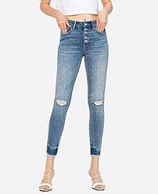 Women's High Rise Button Up Raw Hem Skinny Crop Jeans
