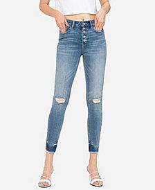VERVET Women's High Rise Button Up Raw Hem Skinny Crop Jeans