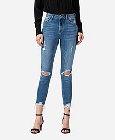 Women's High Rise Distressed Skinny Crop Jeans