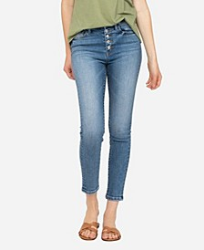 Women's High Rise Button Up Skinny Ankle Jeans