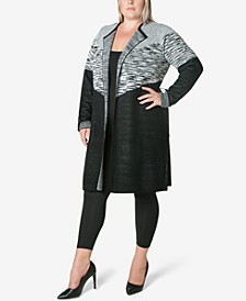 Women's Plus Size Sweater Knit Coatigan