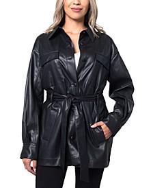 Faux-Leather Shirt Jacket