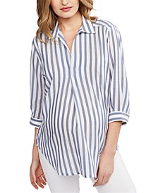 Milano Maternity Pullover Split-Neck Blouse