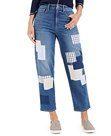 Petite Indigo Dream Patchwork Mom Jeans, Created for Macy's