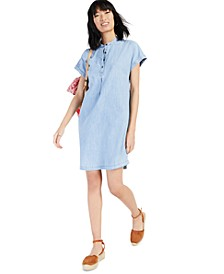 Chambray Mandarin Collar Shift Dress, Created for Macy's