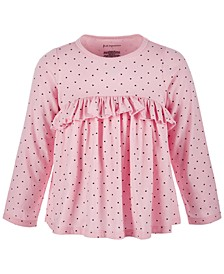 Toddler Girls Heart-Print Ruffle Cotton Top, Created for Macy's