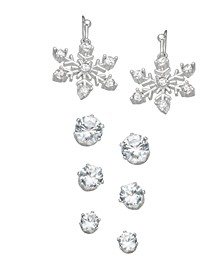 Fine Silver Plated Cubic Zirconia Snowflake Four Piece Earring Set