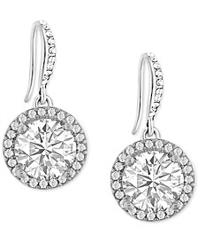 INC Silver-Tone Crystal Drop Earrings, Created for Macy's
