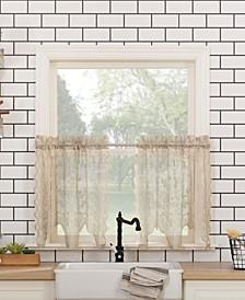 """Alison Floral Lace Rod Pocket Kitchen Curtain Tier Pair, 58"""" x 36"""""""