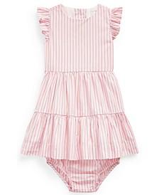 Ralph Lauren Baby Girls Striped Cotton Dress and Bloomer