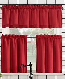 """Martine Microfiber Semi-Sheer Rod Pocket Kitchen Curtain Valance and Tiers Set, 14"""" L x 54"""" W"""