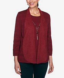 Women's Plus Size Madison Avenue Pointelle Two For One Sweater