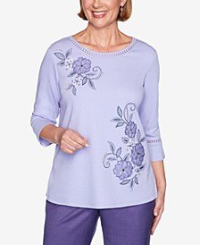 Women's Plus Size Wisteria Lane Applique Flowers Bell Sleeve Top