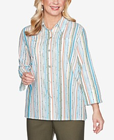 Women's Plus Size Colorado Springs Striped Button-Down Shirt