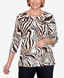Women's Plus Size Classics Zebra Print Top