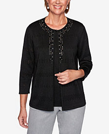 Alfred Dunner Women's Plus Size Classics Pointelle Two For One Sweater