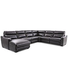 Gabrine 6-Pc. Leather Sectional with 3 Power Headrests and Chaise, Created for Macy's