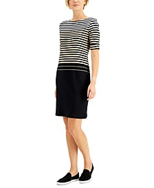 Petite Cotton Boat-Neck Stripe Dress, Created for Macy's