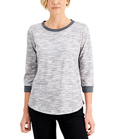 Petite Space-Dyed Contrast-Trim Top, Created for Macy's