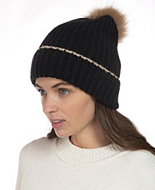 Ribbed Beanie Hat With Faux-Fur Pom, Created for Macy's