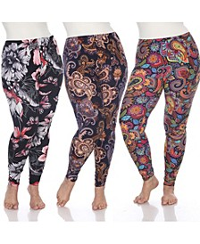 Women's Plus Size Leggings, Pack of 3