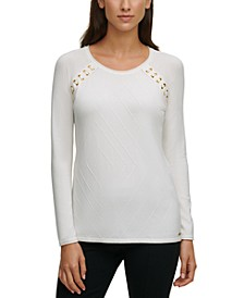 Lace-Up Raglan-Sleeve Solid Sweater