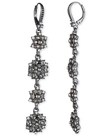 Hematite-Tone Crystal & Imitation Pearl Cluster Linear Drop Earrings